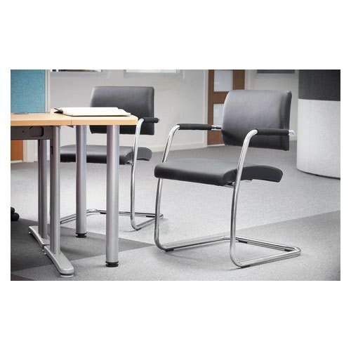Bruges Meeting Room Cantilever Chair Pack 2 Black Faux Leather