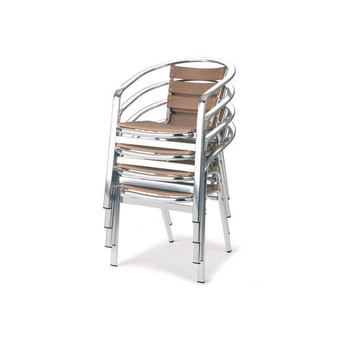 Paulo Cafe Armchair ''No Wood'' Surfaces with Aluminium Frame Stacks Upto 10 High