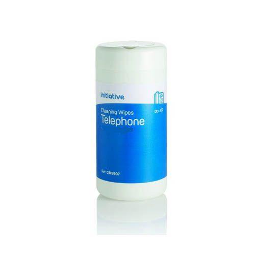 Initiative Premoistened Hygienic Telephone Wipes Tub of 100