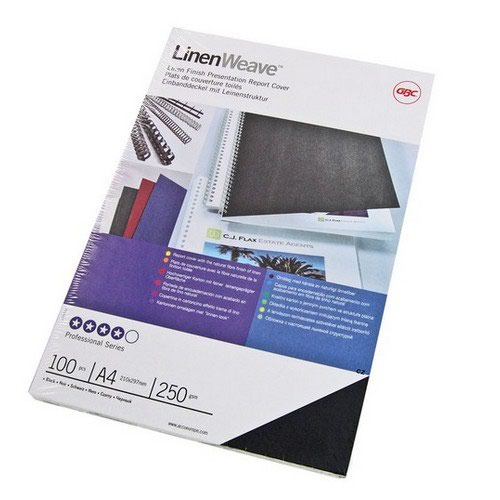 GBC Linen Weave Binding Covers 250gsm A4 Black Pack of 100
