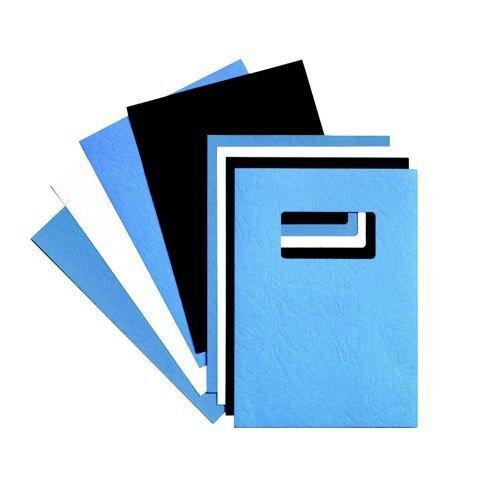 GBC Binding Cover Leather Grain Window A4 Black Pack 25