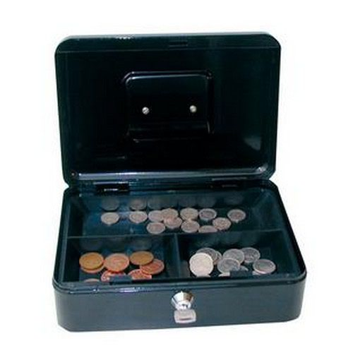 Cash Box with Simple Latch and 2 Keys Plus Removable Coin Tray 200mm Black