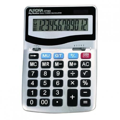 Aurora DT-303 Desktop Calculator Battery/Solar-power 12 Digit 3 Key Memory