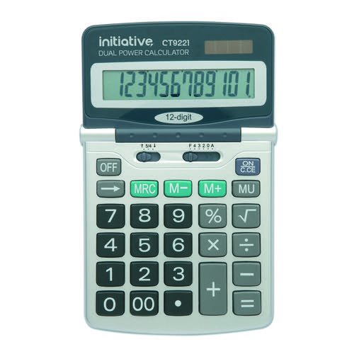 Initiative 12 Digit Desktop Solar Powered Calculator