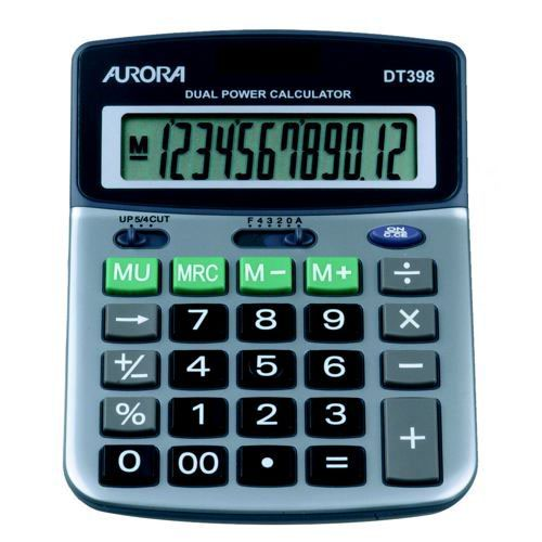 Aurora DT398 Desktop Calculator Battery/Solar-power 12 Digit 3 Key Memory