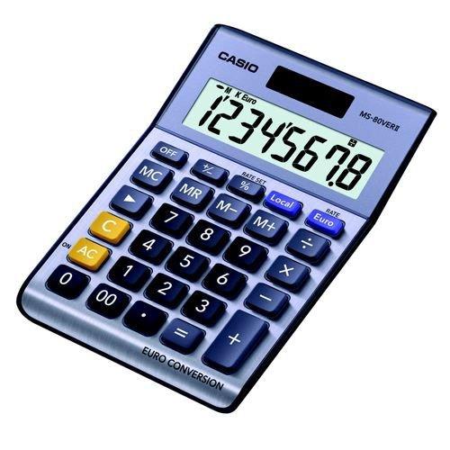 Casio MS-80TV Desktop Calculator Euro Battery Solar Power 8 Digit 3 Key Memory