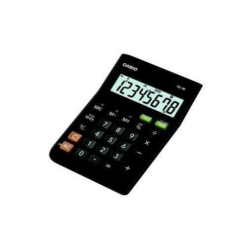 Casio MS-8B 8-digit Extra Large Display Compact Desk Calculator Tax/Currency Function Black