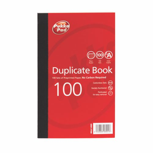 Pukka Plain Ruled Duplicate Book 216 X 130mm