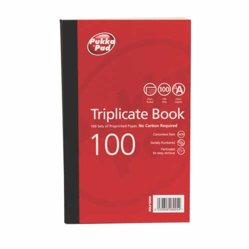 Pukka Plain Ruled Triplicate Book 216 X 130mm