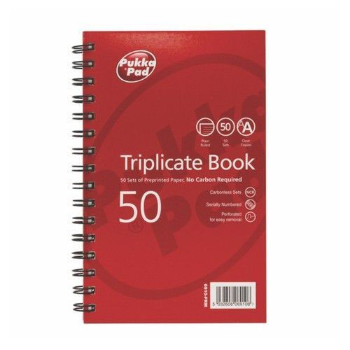 Pukka Plain Triplicate Book 210 X 130mm
