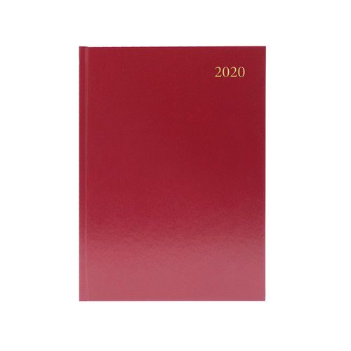 2020 Diary A5 2 Days Per Page Burgundy