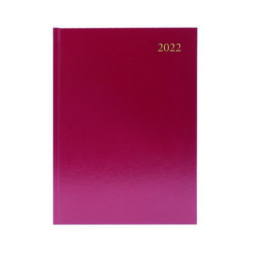 2022 Diary A5 2 Days Per Page Burgundy