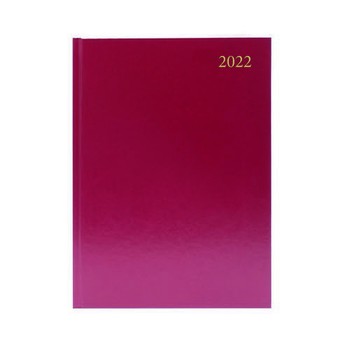 2022 Diary A4 2 Days Per Page Burgundy