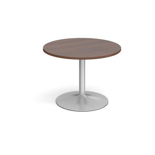 Trumpet Base Circular Boardroom Table 1000mm Silver Base Walnut Top