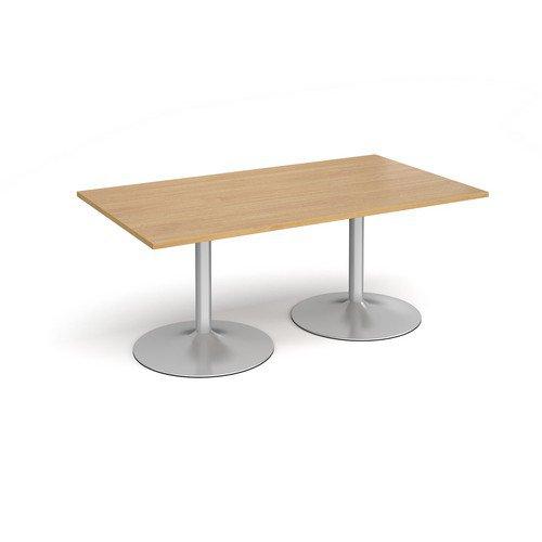 Trumpet Base Rectangular Boardroom Table 1800mm X 1000mm Silver Base Oak Top