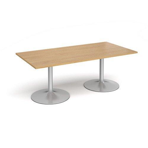 Trumpet Base Rectangular Boardroom Table 2000mm X 1000mm Silver Base Oak Top