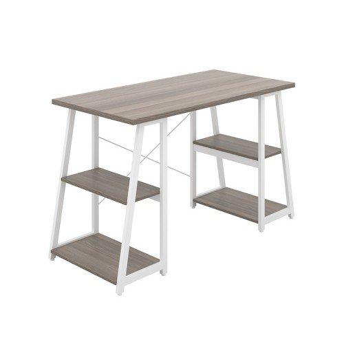Soho Desk With Angled Shelves Grey Oak/White Leg