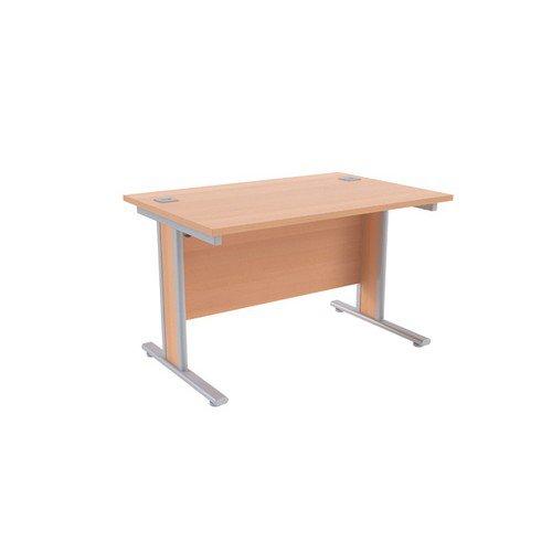 Jemini Beech/Silver 1200x800mm Rectangular Desk KF839749