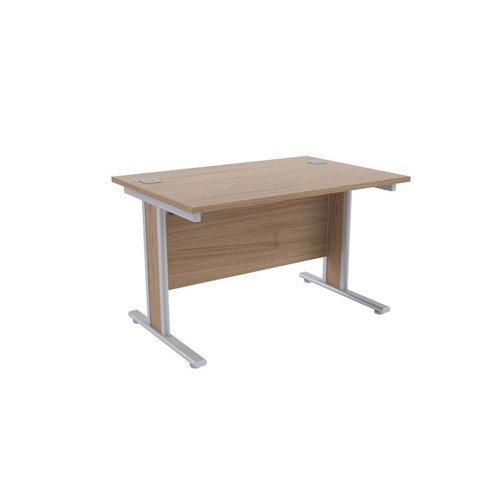 Jemini Grey Oak/Silver 1200x800mm Rectangular Desk KF839753
