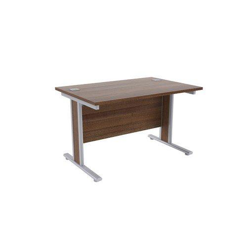 Jemini Walnut/Silver 1200x800mm Rectangular Desk KF839754