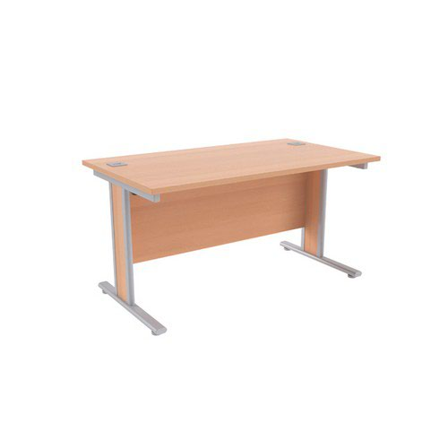 Jemini Beech/Silver 1400x800mm Rectangular Desk KF839755