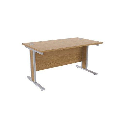 Jemini Oak/Silver 1400x800mm Rectangular Desk KF839756