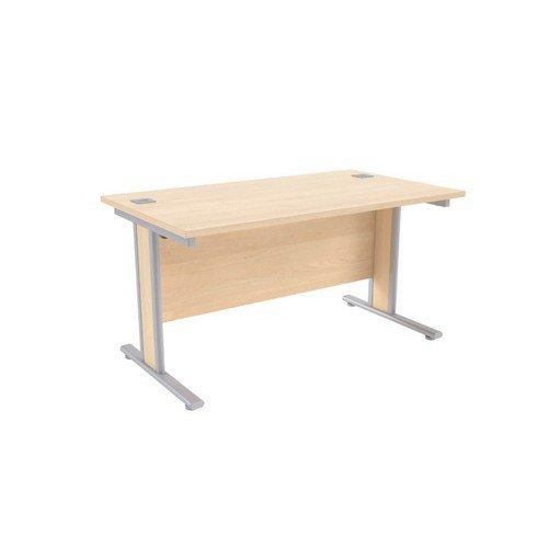 Jemini Maple/Silver 1400x800mm Rectangular Desk KF839757