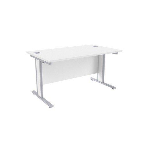 Jemini White/Silver1400x800mm Rectangular Desk KF839758
