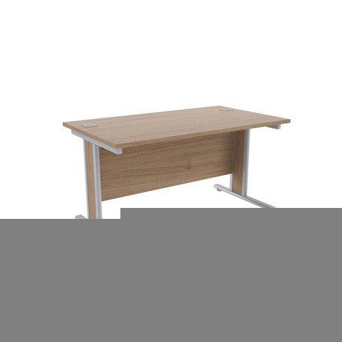 Jemini Grey Oak/Silver 1400x800mm Rectangular Desk KF839759