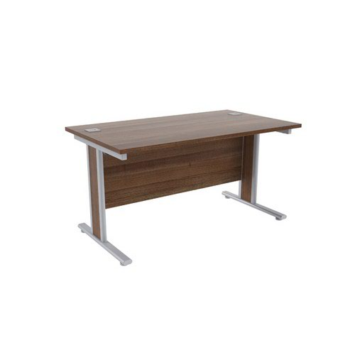 Jemini Walnut/Silver 1400x800mm Rectangular Desk KF839760