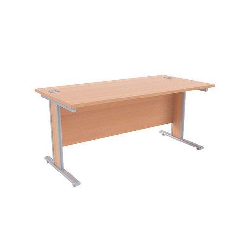 Jemini Beech/Silver 1600x800mm Rectangular Desk KF839761