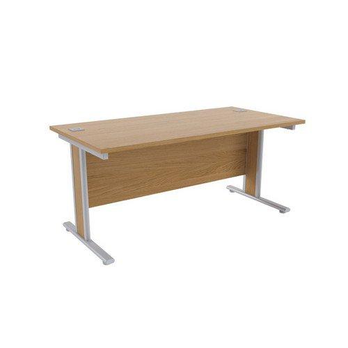 Jemini Oak/Silver 1600x800mm Rectangular Desk KF839762