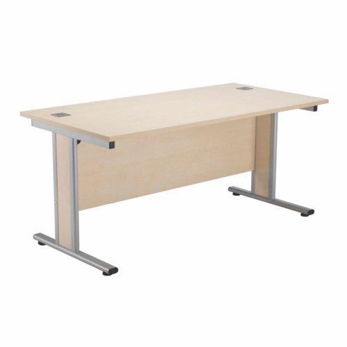 Jemini Maple/Silver 1600x800mm Rectangular Desk KF839763