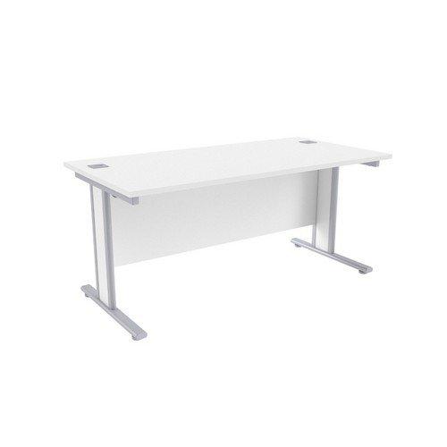 Jemini White/Silver 1600x800mm Rectangular Desk KF839764