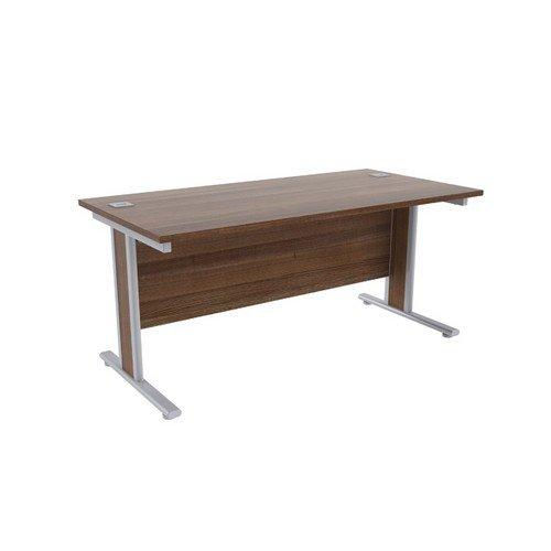 Jemini Walnut/Silver 1600x800mm Rectangular Desk KF839766
