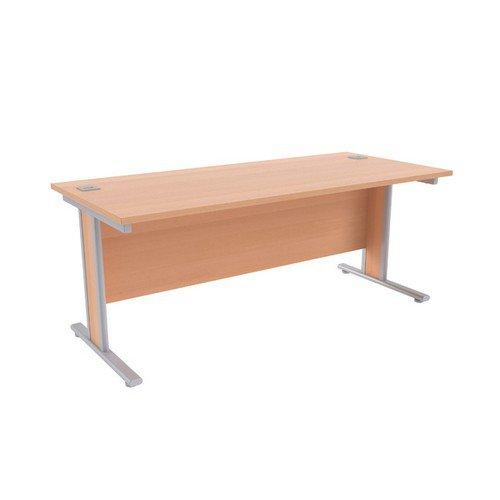 Jemini Beech/Silver 1800x800mm Rectangular Desk KF839767
