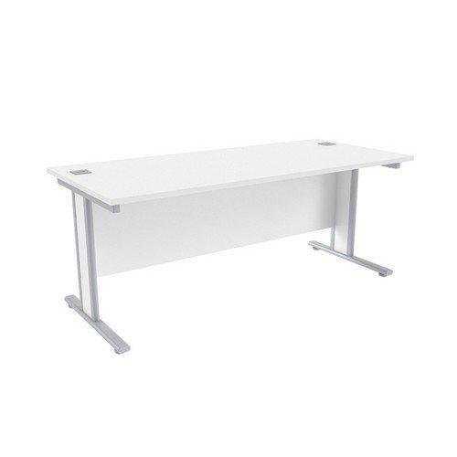 Jemini White/Silver 1800x800mm Rectangular Desk KF839770
