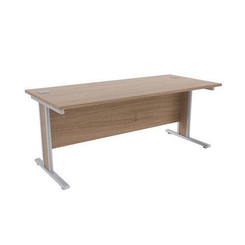 Jemini Grey Oak/Silver 1800x800mm Rectangular Desk KF839771