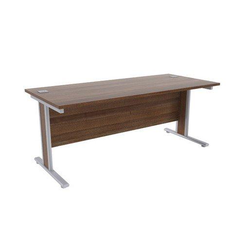 Jemini Walnut/Silver1800x800mm Rectangular Desk KF839772