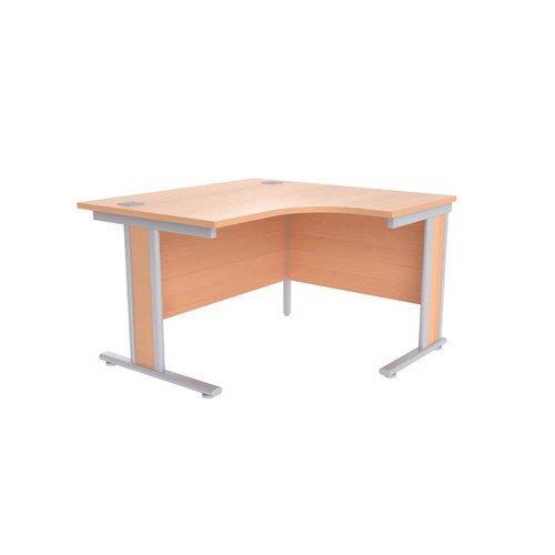 Jemini Beech/Silver 1200mm Right Hand Radial Desk KF839797