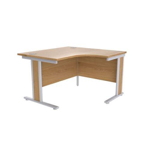 Jemini Oak/Silver 1200mm Right Hand Radial Desk KF839798