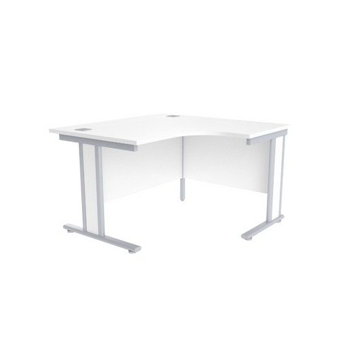 Jemini White/Silver 1200mm Right Hand Radial Desk KF839800
