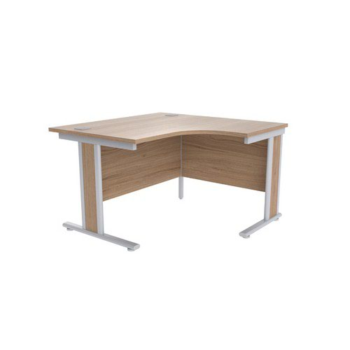 Jemini Grey Oak/Silver 1200mm Right Hand Radial Desk KF839801