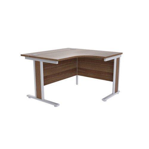 Jemini Walnut/Silver 1200mm Right Hand Radial Desk KF839802