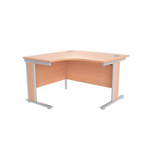 Jemini Beech/Silver 1200mm Left Hand Radial Desk KF839803
