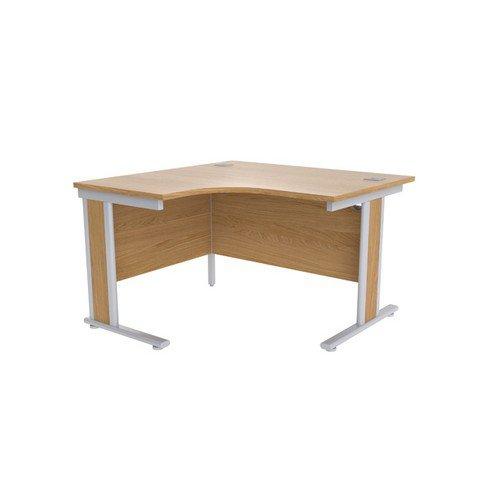 Jemini Oak/Silver 1200mm Left Hand Radial Desk KF839804