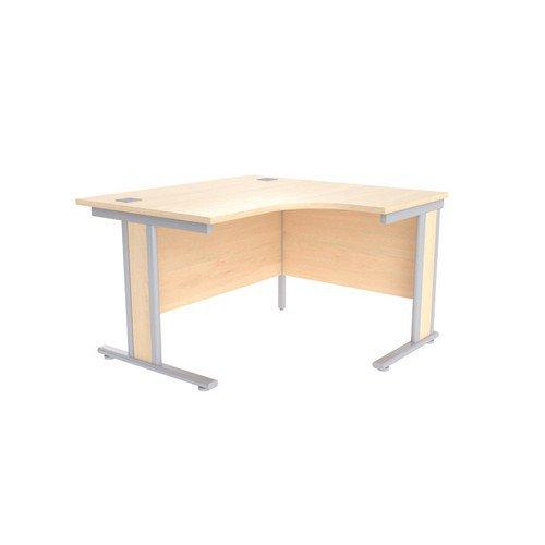 Jemini Maple/Silver 1200mm Left Hand Radial Desk KF839805