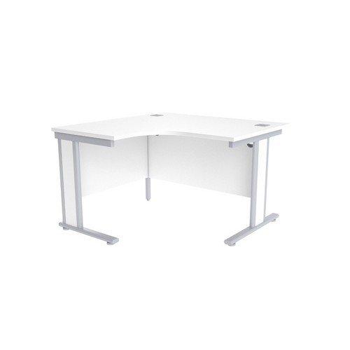 Jemini White/Silver 1200mm Left Hand Radial Desk KF839806