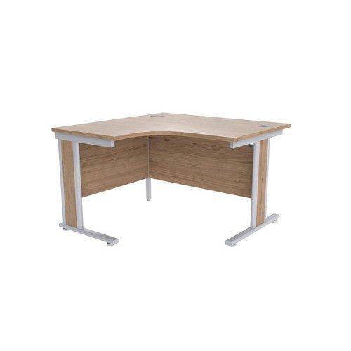 Jemini Grey Oak/Silver 1200mm Left Hand Radial Desk KF839807