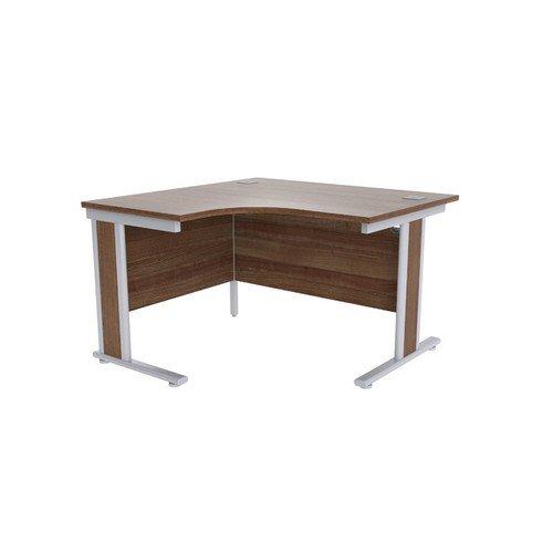 Jemini Walnut/Silver 1200mm Left Hand Radial Desk KF839808